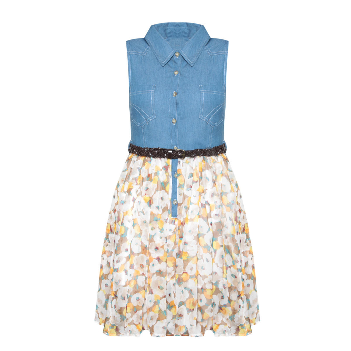 Denim Floral Print Shirt Dress In Yellow Preview